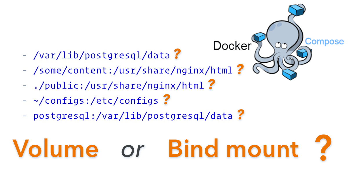 "5 different ways of defining volumes and bind mounts with a question mark next to each, together with the Docker Compose logo and text ""Volume or Bind mount?"""