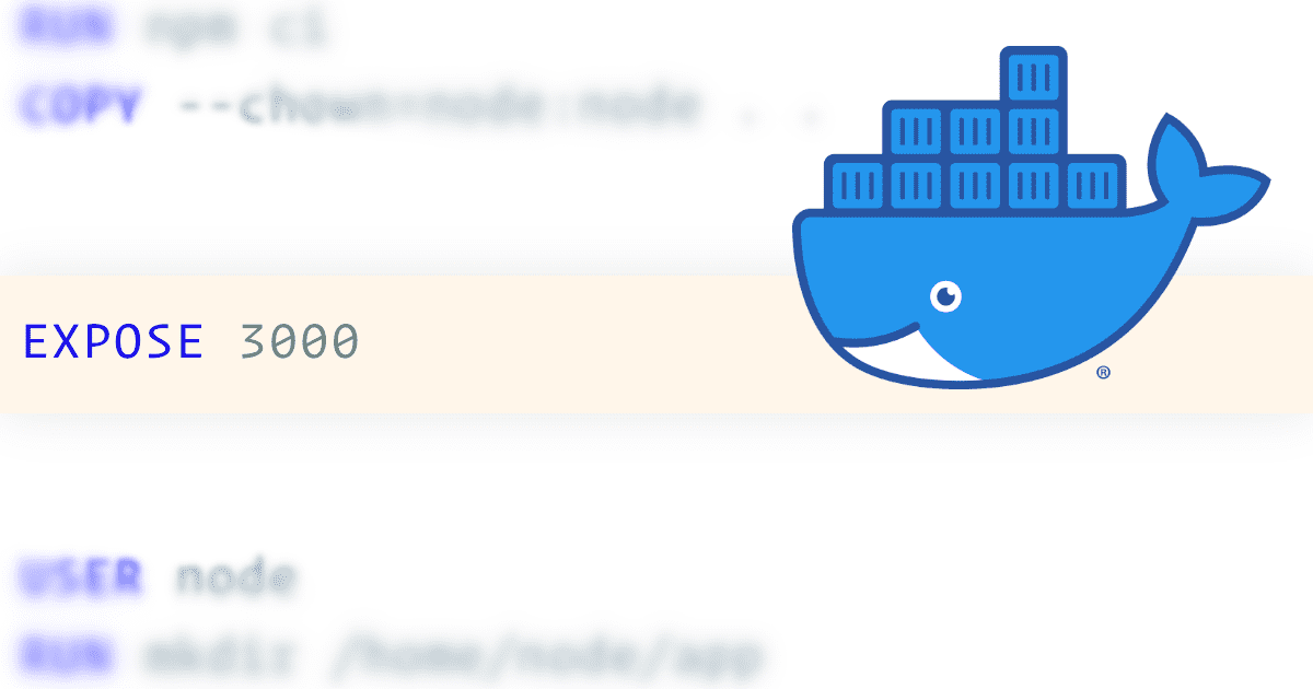 Docker logo with dockerfile contents in the background highlighting the EXPOSE configuration line