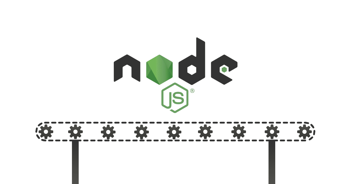 Node.js logo on top of a factory production band